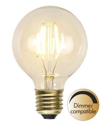 Mynd af Decoration LED filament bulb G80 E27 1,5W(=15W) 2100K 140lm Dimmer comp.