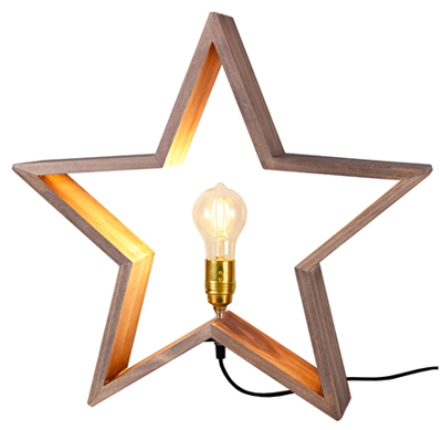 Mynd af LYSeKIL wooden star 52cm E27, brown