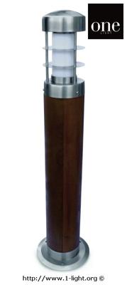 Mynd af One Light TEAK + RYÐFRÍTT STÁL 316 65cm 15W E27 IP44