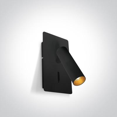 Mynd af Black 3W COB LED bedside adjustable fitting with USB charging socket and switch