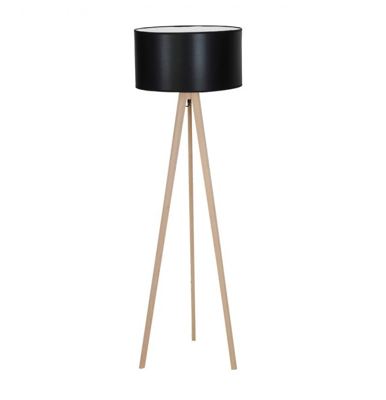 Mynd af Tripod Wood Black Floor lamp